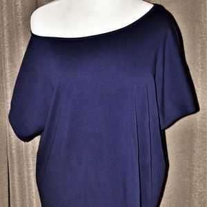 Tops - Navy Batwing Sleeve Off One Shoulder Tunic